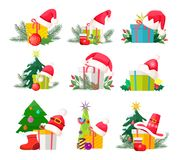Set of Gift Boxes with Santa Claus Caps on White. Set of gift boxes with Santa Claus hats on tops and Christmas decorations behind. Vector poster of presents Stock Photos