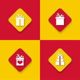 Set of gift boxes. Surprise icon. Mobile and Web Applications. Flat design. long shadows stock illustration
