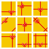 Set of gift boxes, tied with ribbons and bows. Top view. Flat de Stock Photos