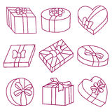 Set of  gift boxes on Valentine day. Stock Photo