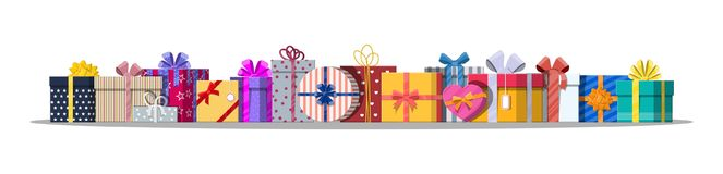 Set of gift boxes  on white. Colorful wrapped. Sale, shopping. Present boxes different sizes with bows and ribbons. Collection for birthday and holiday. Vector Stock Image