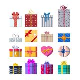Set of gift boxes  on white. Colorful wrapped. Sale, shopping. Present boxes different sizes with bows and ribbons. Collection for birthday and holiday. Vector Royalty Free Stock Photography
