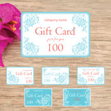 Set of gift cards with blue hand drawn flowers Royalty Free Stock Photos