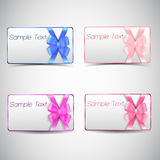 Set of gift cards with bow. Stock Image