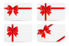 Set of gift cards with bow Royalty Free Stock Image