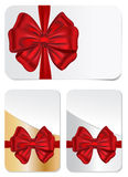 Set of gift cards with bows. Vector set of blank gift cards with red bows for celebrations royalty free illustration