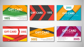 Set of gift cards of different values. Stock Photo