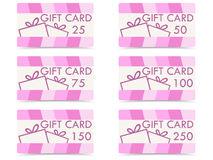Set of gift cards with gift boxes, different denominations. Royalty Free Stock Images