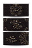 Set of gift cards with gold floral elements and seamless pattern Stock Photography