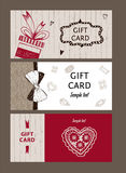 Set of gift cards, hand-drawn. Templates gift certificate. To shop. Coupon code with the texture of wood, ribbon and bow for the holidays and Valentines Day Stock Photo