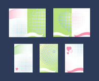 Set of Gift Cards. Hearts and ribbons. Vector Illustration. Set of Gift Cards. Hearts and ribbons. Abstract green and white background. Vector Illustration Royalty Free Stock Photos