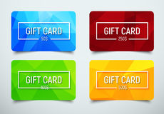 Set of gift cards with a polygonal abstract background Stock Photography