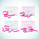 Set of gift cards with red heart ribbon. Royalty Free Stock Photos