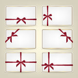 Set of gift cards with ribbons. Vector background or template. Royalty Free Stock Image