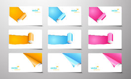 Set of gift cards with rolled corners. Stock Images