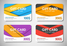 Set of gift cards in the style of the material design Stock Images