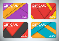 Set of gift cards in the style of the material design Stock Photo