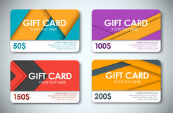 Set of gift cards in the style of the material design. Template color gift cards. Gift cards in the style of the material design for shops and companies. Design Royalty Free Stock Photos