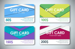 Set of gift cards. Template color gift cards. Gift cards face value 50, 100, 150 and 200 dollars. Gift cards in the style of the material design. Vector Stock Images