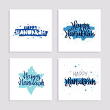Set of gift cards to Happy Hanukkah Stock Image