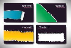 Set of gift cards with torn paper Royalty Free Stock Photo