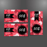 Set of gift certificates with hearts background. Stock Photography
