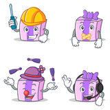 Set of gift character with automotive silent juggling headphone Royalty Free Stock Photo