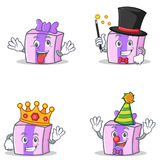 Set of gift character with crazy magician king clown. Vector illustration Royalty Free Stock Photos