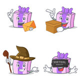 Set of gift character with envelope box witch virtual Royalty Free Stock Photography