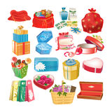 Set of gift decorative boxes, packages and cases, with gifts. Beautiful set of gift decorative bag, box, case, packing, with gifts, for various items and for Royalty Free Stock Photo