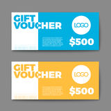 Set of gift (discount) voucher cards Stock Photos