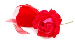 A set of gift and flower. Red gifts background is on valentine holiday Royalty Free Stock Images