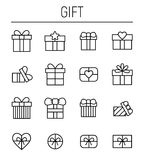 Set of gift in modern thin line style. High quality black outline box symbols for web site design and mobile apps. Simple gift pictograms on a white background Royalty Free Stock Photos