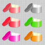 Many boxes vector-01. A set of gift open boxes. In the shape of a heart. Razotsvetnye packing, templates for design 3d parcel. , on a transparent background. For Stock Image