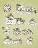 Set of gift present boxes Royalty Free Stock Image