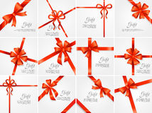 Set Gift. Red Wide Ribbon. Bright Bow with Two Petals Royalty Free Stock Photo