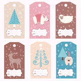 Set of gift tags. Collection of Christmas gift tags Royalty Free Stock Photo