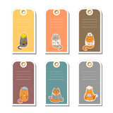 Set of gift tags with cute cartoon occupation characters. Stock Image