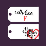 Set of gift tags with hand drawn lettering and watercolor red he Royalty Free Stock Photography