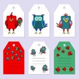 Set gift tags. Stock  set of children's birthday party. Flat bird design. Stock Photo
