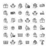 Set of 36 gift thin line icons. High quality pictograms of present. Modern outline style icons collection. Box, surprise, package, price, etc Stock Photos