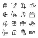 Set of 16 gift thin line icons. High quality pictograms of present. Modern outline style icons collection. Box, surprise, package, price, etc Royalty Free Stock Image