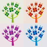 Set of 4 Gift Trees Icons - Multiple Colors Royalty Free Stock Photos