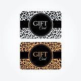 Set of gift or vip cards with trendy leopard pattern,  Royalty Free Stock Images