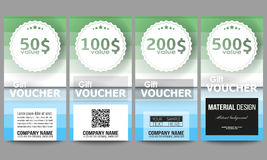 Set of gift voucher templates. Abstract colorful business background, blue and green colors, modern stylish striped. Set of modern gift voucher templates Royalty Free Stock Image