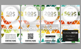 Set of gift voucher templates. Abstract colorful business background, modern stylish hexagonal and triangle vector Stock Images