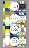 Set of gift voucher templates. Abstract colorful business background, modern stylish vector texture Royalty Free Stock Photo
