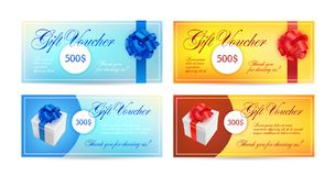 Set of gift vouchers with ribbons, a bow and gift boxes. Vector elegant template for gift card, coupon, certificate - royalty free illustration