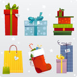 Set of gifts. Set of holiday gifts and bags Stock Photos