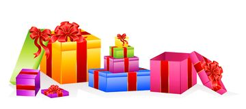 Set of gifts with a bow Royalty Free Stock Photography